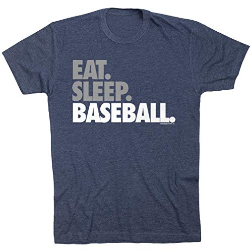 ChalkTalkSPORTS Eat Sleep Baseball Bold Text T-Shirt | Baseball Tees Navy | Adult Large