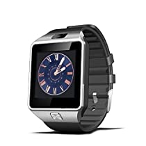 Bluetooth SmartWatch Wristwatch DZ09 Smart Watch Bluetooth Phone with SIM Card Slot/ Camera For iPhone Samsung Android (Silver)