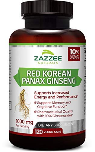 Zazzee Red Korean Panax Ginseng, 10% Ginsenosides, 120 Veggie Caps, Extra Strength, 1000 mg per Serving, Vegan, Non-GMO and All-Natural, Premium Support for Energy, Performance and Cognitive Health (Best Way To Get Rid Of Erectile Dysfunction)