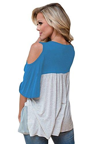 New Light Blue color block Crisscross scollo a V Cold Shoulder camicetta estate camicia top casual Wear taglia UK 14EU 42