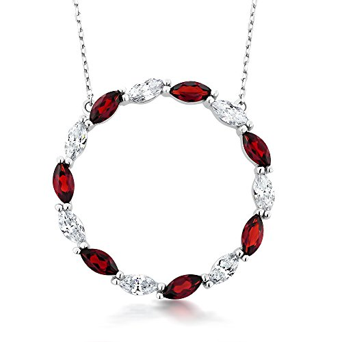 3.08 Cttw Sterling Silver Red Garnet & White Swarovski Circle Pendant Necklace with 18 Inch Silver Chain