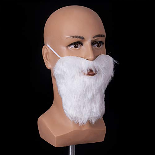 (Funny Costume Party Male Man Christmas & Halloween Beard Facial Hair Disguise Game White Mustache Top)