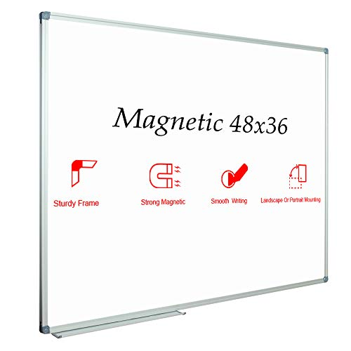 (JILoffice Magnetic Dry Erase Board/Whiteboard, White Board 48 x 36 Inch, Silver Aluminium Frame Wall Mounted Board for Office Home and School)