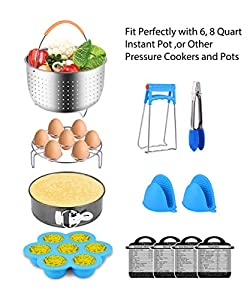Fopurs 12-piece Accessories Set Compatible with Instant Pot 6,8 QT, with Steamer Basket, Egg Rack, Springform Pan, Egg Bites Mold, 4 Cheat Sheet Magnets, Oven Mitts and More