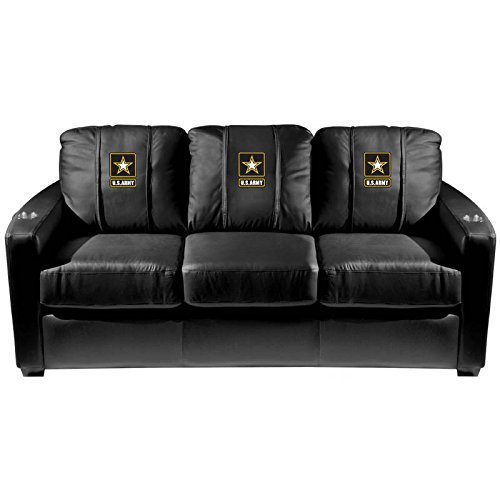 XZipit Armed Forces Silver Sofa with Army Logo Panel, Black