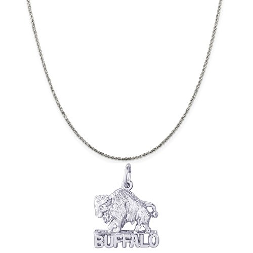 Rembrandt Charms Sterling Silver Buffalo, New York Charm on a Rope Chain Necklace, 20