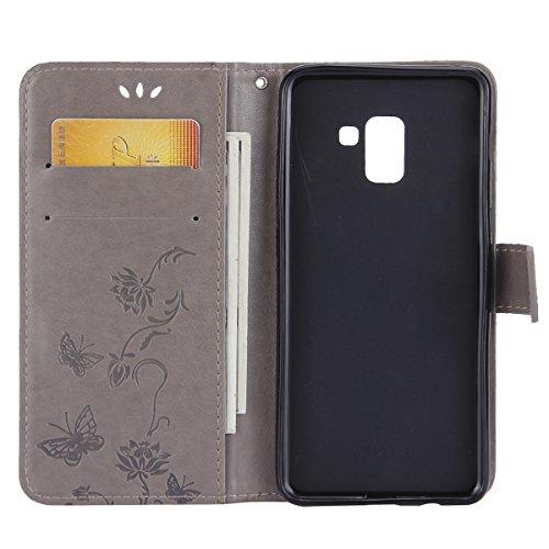 Funda Samsung Galaxy A8 Plus,SainCat Funda de cuero sintético tipo billetera con correa de cordón de Suave PU Carcasa Con Tapa y Cartera,Carcasa de Cuero Suave PU Leather de piel mariposa Funda Wallet Gris