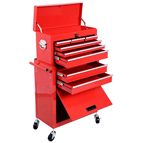 2pc Large Red Portable Rolling Tool Box Locking Storage Chest Cabinet w/ (Ford F350 Pickup Diamond Step)