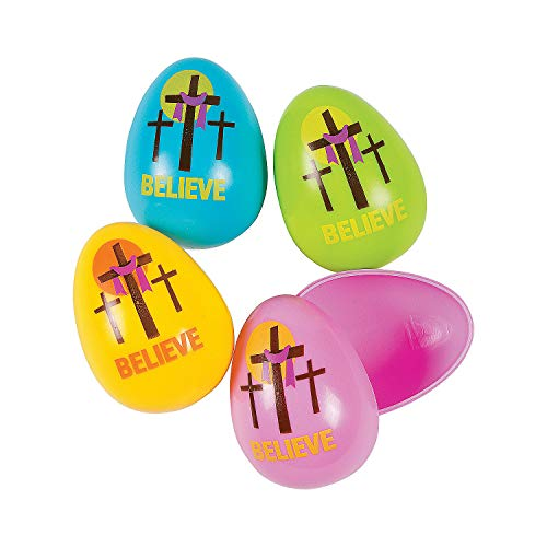 Fun Express - Three Cross Easter Eggs for Easter - Party Supplies - Containers & Boxes - Plastic Containers - Easter - 24 Pieces