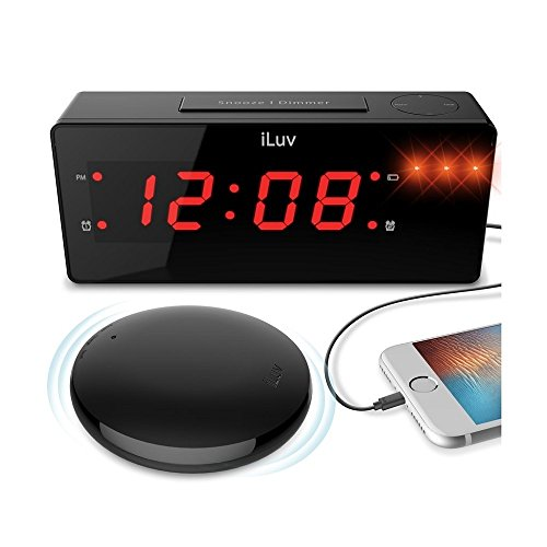 """iLuv TimeShaker Wow 1.4"""" Jumbo LED Dual Alarm Clock with the Vibrating Wired Bed"""
