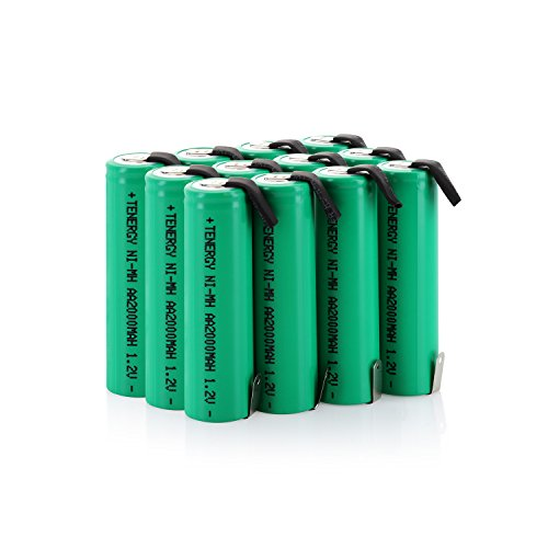 Combo: 12 pcs Tenergy AA 2000mAh NiMH Rechargeable Battery Flat Top with Tabs for Shavers, Trimmers, Razors, and More (Best Rated E Cig Batteries)
