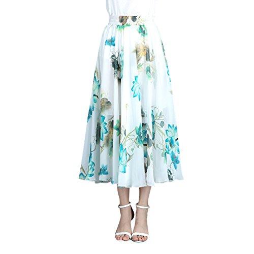 CHENYANG Jupe Longue Femme Bohme Fluide lastique Plisse en imprim Floral t en Boho Dress Casual Plage Style10