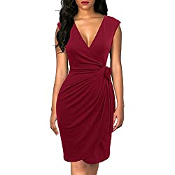 Berydress Women's Classic Cocktail Party Cap Sleeve Deep V Neck Draped Waist Tie Belt Knee-Length Faux Wrap Dress (S, 6028-Burgundy)