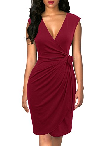 Berydress Women's Classic Cocktail Party Cap Sleeve Deep V Neck Draped Waist Tie Belt Knee-Length Faux Wrap Dress (L, 6028-Burgundy) by Berydress