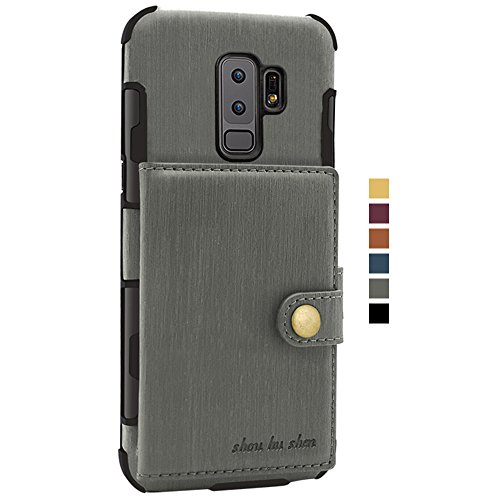 Plus Cover Holder Samsung Wallet Slim S9 Card for Credit Phone Protective Leather PU S9 Case Galaxy Gray with Case Back OUU0FnA
