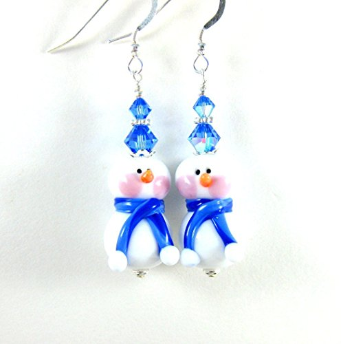 Blue White Snowman Glass Crystal Sterling Silver Holiday Earrings