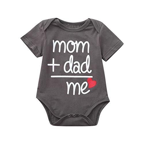 - MOGOV 3-24 Months Toddler Newborn Baby Girls Boys Letter Printed Tops Bodysuit Romper Clothes Gray