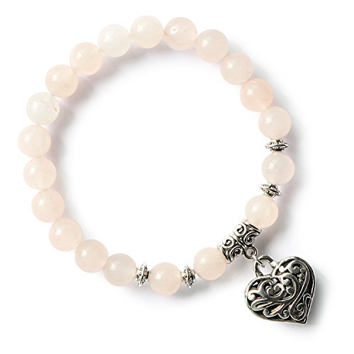 Beaded Stretch Plated Bracelet Silver (MHZ JEWELS Pink Rose Crystal Quartz Beaded Stretch Bracelets Silver Heart Pendant Charm Bracelets for Girls)