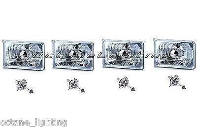 "OCTANE LIGHTING 4X6"" Halogen Semi Sealed H4 Headlight Headlamp Bulbs Diamond Crystal Clear Set"