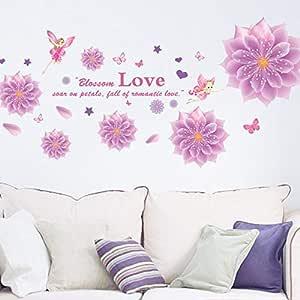 كريستال زهرة ملصقات الحائط غرفة النوم غرفة المعيشة زجاج خلفية ديكور صديقة للبيئة ملصقات الحائط القابلة للإزالة