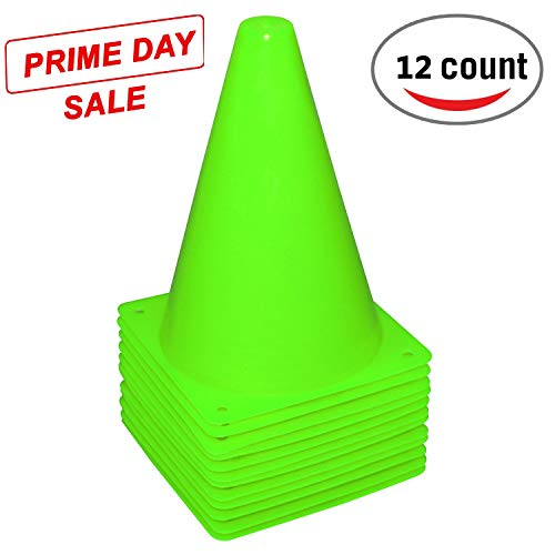 (Fragraim 7.5-Inch Plastic Training Traffic Cones | Mini Agility Marker Cone for Kids | Safety Cones for Motorcycle, Themed Party, Skating, Soccer Basketball Football Drills - (Set of 12, Green))