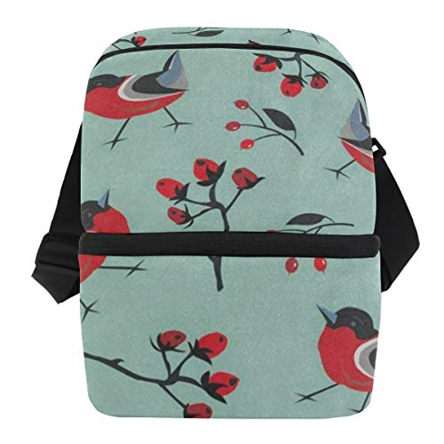 (Lunch Bag Funny Red Bird Area Portable Cooler Bag Mens Leakproof Lunch Storage Zipper Tote Bags for Outdoor)