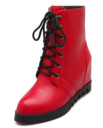 YE Damen Spitze High Heels Plateau Wedges Stiefeletten mit Keilabsatz Schnüren 5cm Absatz Ankle Boots Rot