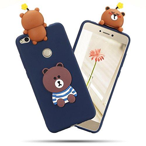 Funda Huawei P8 Lite 2017, SpiritSun Soft Carcasa Funda Diseño Mate Opaco Ultrafina Kawaii 3D Diy Case TPU Bumper para Huawei P8 Lite 2017 (5.2 pulgadas) Suave Silicona Piel Carcasa Ultra Delgado y Li Small Grizzly Bear