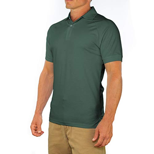 Comfortably Collared Men's Perfect Slim Fit Short Sleeve Soft Fitted Polo Shirt, Small, Dark Green ()