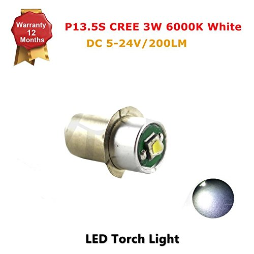 1x P13.5S Socket Upgrade 3W CREE LED for Flashlight Torch Headlight Bulb, 200LM, DC5-24V, 6000K White - Positive Earth/Reverse (Guangzhou Halloween)