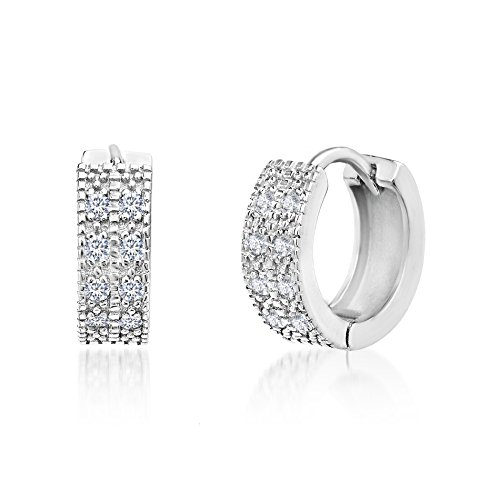 Mia Sarine Sterling Silver Double Row Pave Cubic