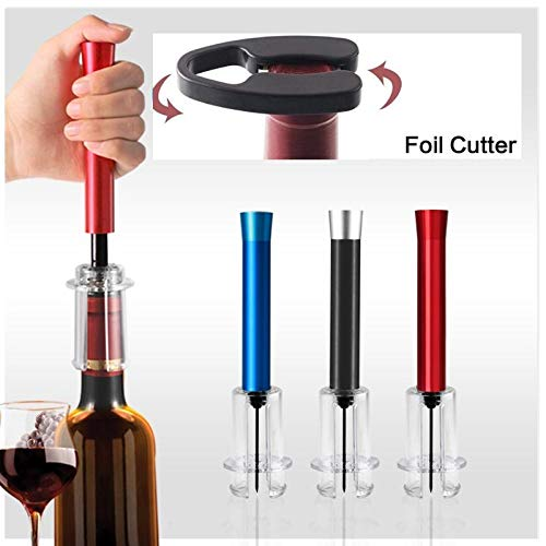 Wine Air Pressure Pump Bottle Opener by Primemer - Top Corkscrew remover tool with foil cutter - Air pressure pump bottle pop accessories Multiple Color- Makes simple for wine Love (RED)