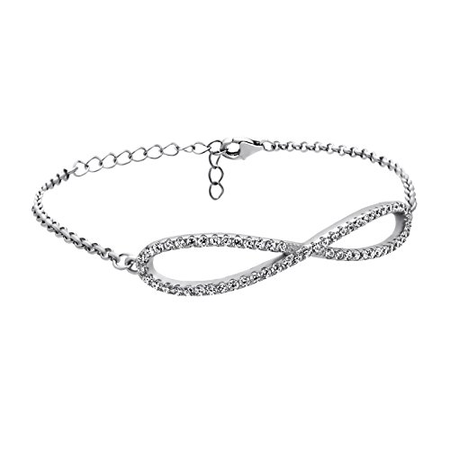925 Sterling Silver Infinity Bracelet Double Infinity CZ Crystal Simple Minimalist Jewelry Bridesmaid Gifts,Large Infinity Charm Bracelet,3.5 Gram,Lobster Clasp,Gift for - Gram Gift Lobster