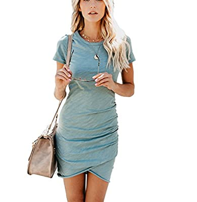 EFAN Women's Summer Causal Solid Ruched Short Sleeve T-Shirt Mini Dress Bodycon Pencil Dress
