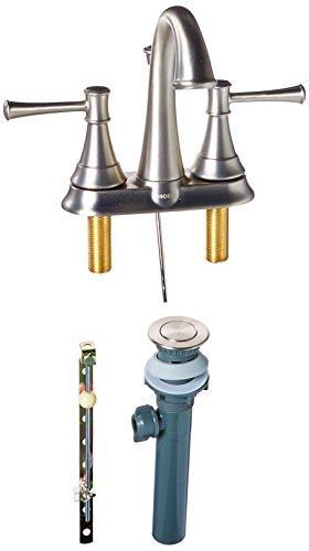 - Moen WS84777MSRN Ashville Centerset 2 Handle Bathroom Faucet, Brushed Nickel