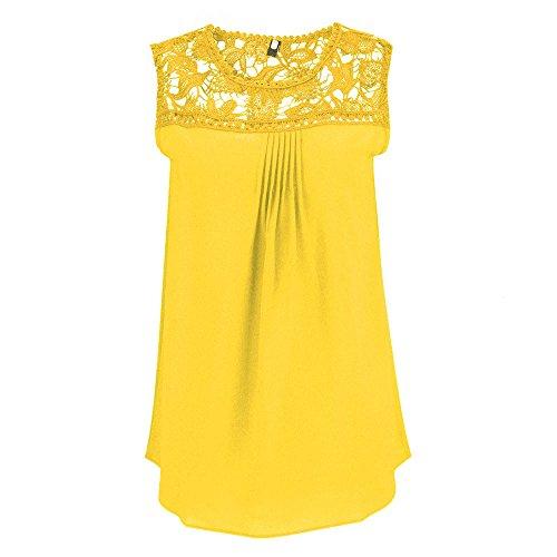 e816e168cfa683 Inverlee Women Plus Size Blouses Chiffon Lace Sleeveless Patchwork Tops T- Shirt Yellow