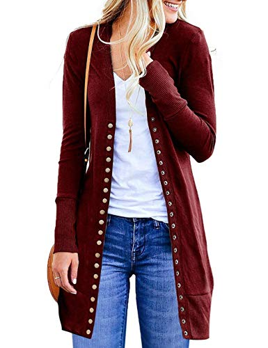 MeetZa Womens Lightweight Long Sleeve Snap Button Down Cardigans Ladies Loose Solid Color Knit Ribbed Neckline Sweater Coats