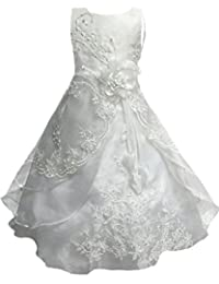 Little Big Girls Embroidered Beaded Flower Girl Birthday Party Dress With Petticoat