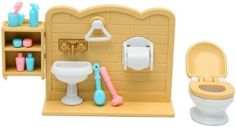DIY Miniatures Bathroom Furniture Sets For Sylvanian Family Dollhouse Toys Gift