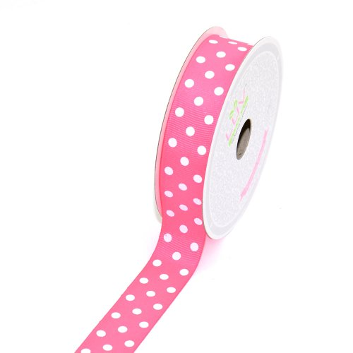 LUV RIBBONS GWD0708-NPK 7/8-Inch Grosgrain White PolkaDots Ribbon by Creative Ideas, 10-Yard Neon Pink