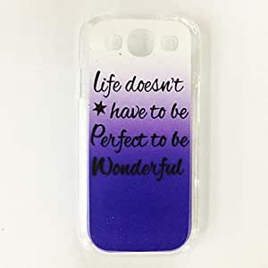 Fashion Special Gradient English Words Pattern Plastic Hard Case for Samsung S3 I9300 , Multicolor