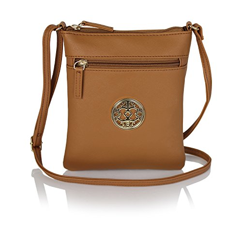 Small Cognac - Chic Mini Vegan Leather Crossbody Purse with Gold Medallion Small Festival Bag (Cognac)