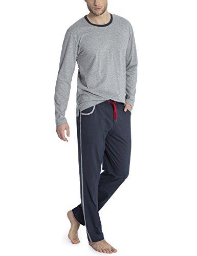 Calida Mens ELO Crew Cotton Knit Pajamas Set 42367 (754, Medium)