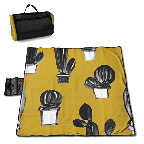 Hailiy Gouache Cactus Picnic Mat Folding Portable Tote for Family Camping Concert Durable Camping Mat for Outdoor 57X59inch