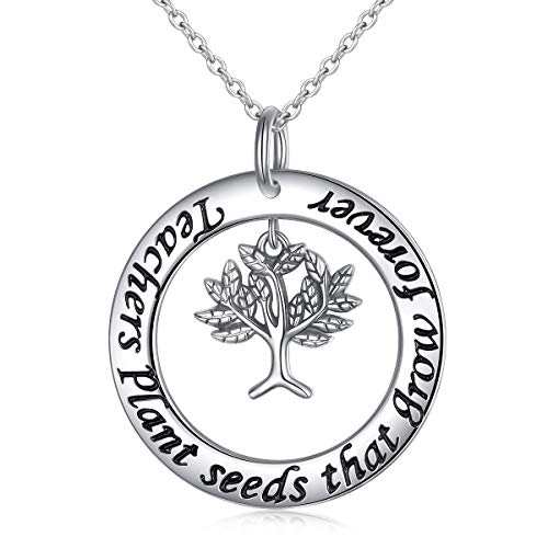 S925 Sterling Silver Teacher Appreciation Gifts Necklace Engraved Teacher Plants Seeds that Grow Forever Teacher Gift from Student, 18