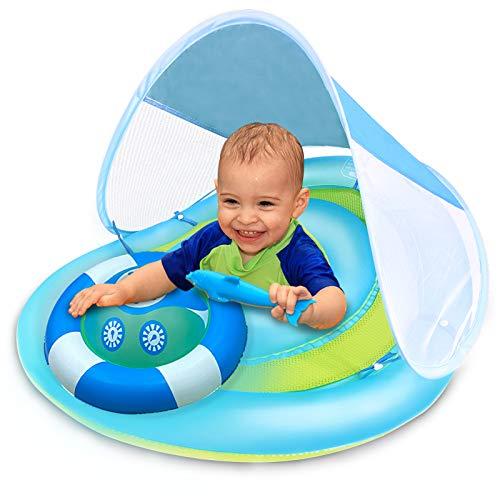 아기 수영장으로 떠 태양 캐노피 안전 좌석 배는 에어백 팽창식 아기 수영 반지는 아기를 위한 아이 뜨는 수영장을 위한 봄 FLOATIE 수영 코치 풀레아 3-48 달