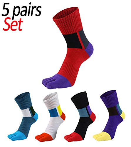 Men's Cotton 5 Finger Toe Socks Athletic Wicking Grip Crew Quarter Colored 5 Pack Size ()