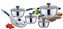 Pearington 9 Piece Stainless Steel Cookware Set, Blue