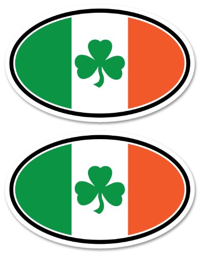 Tricolor Shamrock Oval Ireland Irish Car Bumper Sticker/decal (Shamrock Sticker Bumper)