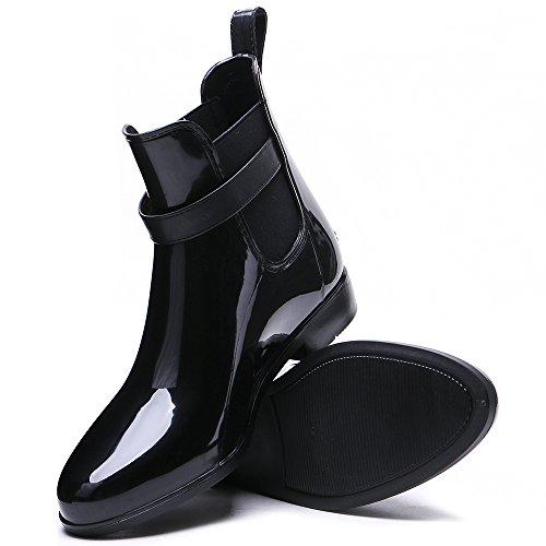 Regen Frauen Schnalle Damen Schuhe Ankle für TONGPU Schwarz Booties wxp6q7UFnI